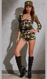 セール コスプレ 衣装 兵士 ポリス ハロウィン♪オールインワン仕様の大人気セクシー迷彩柄アーミーコスチューム♪khcos891