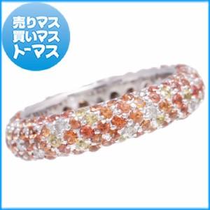 新品仕上げ済♪ホワイトゴールド マルチサファイア/ダイヤモンド パヴェリング 指輪 オレンジ イエロー ジュエリー アクセサリー