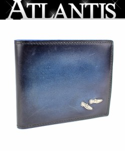 極美品 ベルルッティ 二つ折り札入れ コンパクト 財布 青系