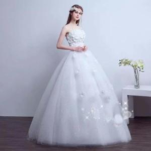 夏新作 ウエディングドレス 高級 花嫁 ブライド ドレス 韓国風 ロングドレス エンパイアドレス フリル ドレス 【結婚式】 編み上げ