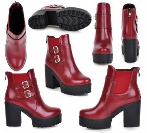 【在庫処分品】 ショートブーツ ブーツ ブーティ ブーティー シューズ 短靴 秋冬 太ヒール カジュアルシューズ 美脚   返品不可
