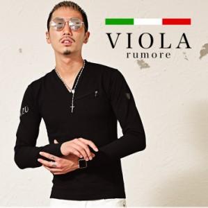 VIOLA rumore ヴィオラ 長袖 tシャツ メンズ ロンT 長袖Tシャツ カットソー グレー Vネック 秋 trend_d
