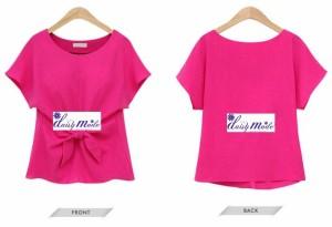 フロントリボンのリラックスTシャツ Tシャツレディース レディースシャツ シャツTシャツ リボン付き カットソー