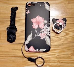 スマホケース  iPhone8iPhone8plus iPhone7 iPhone7plus iPhone6s iPhoneplusケース花柄リングストラップアイフォンケースMC1025