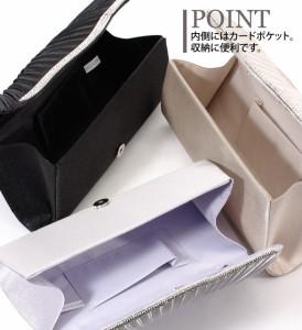 【アウトレット】エレガントプリーツ3wayクラッチバッグ  便利な大きめサイズ