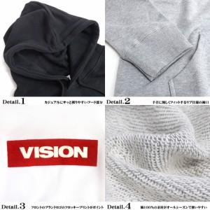 VISION STREET WEAR メンズ パーカー ヴィジョンストリート BOXロゴ フロッキープリント VISION-091