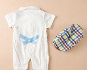 ベビー服 ロンパース&帽子 2点セット 蝶ネクタイ 半袖 フォーマル 男の子/新生児/幼児 カバーオール 出産祝い
