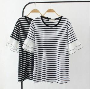 2枚送料無料tシャツ半袖Tシャツ夏ボーダーTシャツ レディース トップス上着カットソー/プルオーバー/ストライプ/フリル袖/大きいサイズ