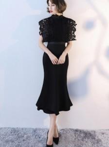 ドレス 半袖 ミモレ丈 フォーマル ワンピース 結婚式 SMLXL マーメイド 黒 シャンパン 刺繍 パーティー