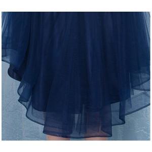 パーティードレス ワンピース レース 結婚式 イブニングドレス SMLXL スパンコール 後ろ長め マーメード オーガンジー ネイビー 紺