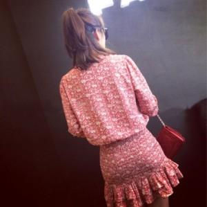 スリムスカート 七分袖 フリル 花柄ワンピース