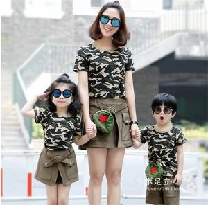 親子ペアルック 上下セット 春夏おそろい レディース 子供 メンズ 半袖Tシャツ セットアップ  キュロットスカート パンツ  キッズ 迷彩