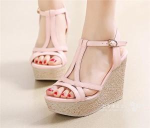 ウェッジソールサンダル   厚底サンダル  アンクルストラップ サンダル  夏靴 レディース 美脚 高めヒール  婦人靴 全5色!ピンク