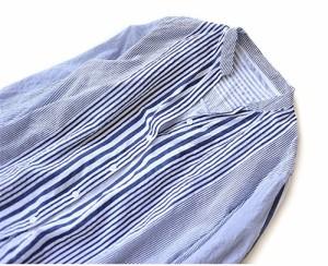 シャツ ブラウス ストライプ Vネック シャツ レディース 着心地 フリーサイズ ブルーwp052