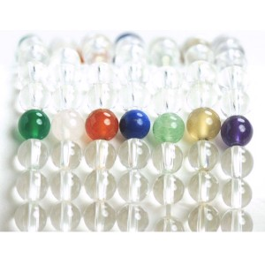 【メール便 送料無料】 天然石 ブレスレット 水晶*アベンチュリン5個 数珠 6mm玉【クリスタルクォーツ*インド翡翠 6ミリ数珠】 ┃
