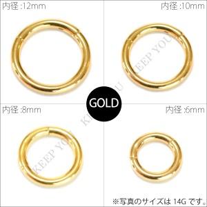 メール便送料無料 ボディピアス カラー ワンタッチ セグメントリング 14GA(1.6mm) 16GA(1.2mm) ステンレス316L ゴールド ブラック =┃