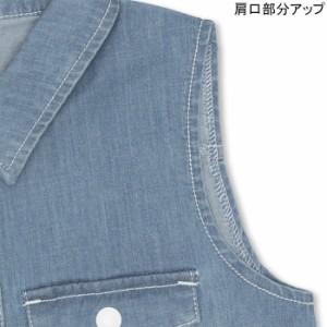 NEW♪デニムノースリワンピース-ベビーサイズ キッズ 襟付き ベビードール 子供服-9411K