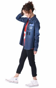 11/17〜FW_SALE30%OFF 親子ペア FREEデニムシャツ-大人 男女兼用 襟付き レディース メンズ ベビードール 子供服-9401A