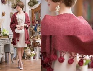 ストール予約パーティ-ドレス成人式可愛いファーボンボンカシミヤ風大判ショール肩かけグレーピンクベージュ赤 YJ-88023 送料無料