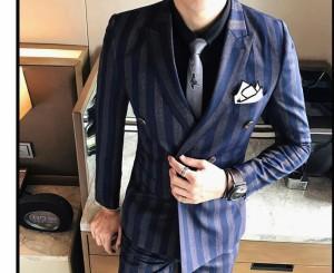 ストライプ メンズ格好いいスーツ/結婚式/二次会/披露宴/ビジネススーツ(3点セット)セットアップスーツ/メンズフォーマルスーツ