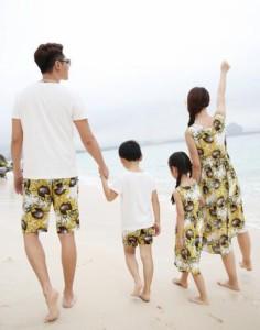 親子 ペアルック 半袖 Tシャツ ワンピース カップル 半袖 Tシャツ ショートパンツ 上下セット子供服 お揃い キッズ