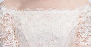 オフショルダー★ブライズメイドドレス パーティー 結婚式 二次会 Aライン 成人式 カラードレス着痩せ 膝丈ワンピ シャンパン色/レース