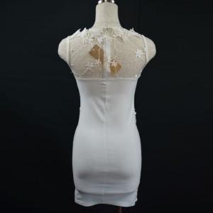 キャバドレス 82W 白 ホワイト ボディコン ミニ ドレス レース シースルー ノースリーブ ミニワンピ ナイト パーティー 送料無料