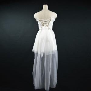 キャバドレス 97W 白 ホワイト ミニ ドレス Aライン オフショルダー チューブトップ レース シースルー ナイト パーティー 送料無料