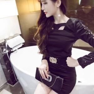 キャバドレス 75B 黒 ブラック ボディコン ミニ ドレス 長袖 ベルト Vネック ナイト パーティー セクシー 送料無料