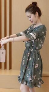 ワンピース Aライン 花柄 フリル デート パーティ シフォン 可愛い ガーリー