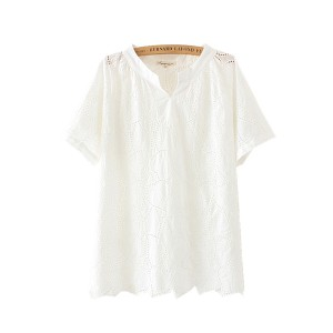 Vネック 半袖Tシャツ 緩い 野生 綿の刺繍シャツ ソリッドカラー ハーフスリーブ