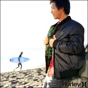 Hurley メンズ ダウンジャケット アウター MA-1 スタジャン ジップアップ リバーシブル ALL CITY REVERSIBLE 2.0 USフィット カモフラ