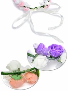 メール便 送料無料 ローズ フラワー ドット チュール 花かんむり 花冠 フェス ウェディング ヘッドドレス