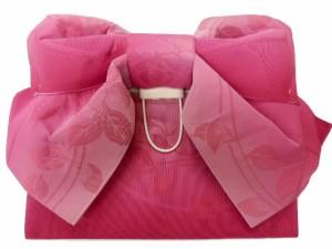 浴衣初心者でも楽々 一人で簡単に結べる 浴衣帯 軽装帯 作り帯 帯 簡単 蝶帯 ローズピンク地 ボカシ バラ 柄no2910