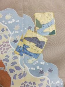 希少 正絹 色留袖 結婚式 ベージュ地 カルタ 波 柄 no2951
