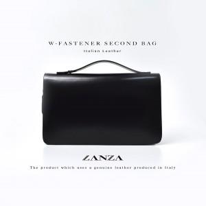 LANZA ランザ イタリアンレザー イタリア製 セカンドバッグ ダブル ジップ メンズ バッグ (1)