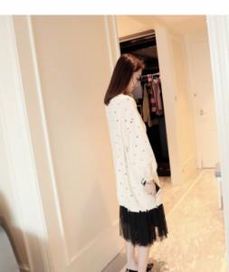 レディス服 女性 ファッション 韓国風 お洒落 ロング丈 羽織 透かし彫り 厚手 暖かい パフ袖 可愛い 大きいサイズ 秋服 原宿風