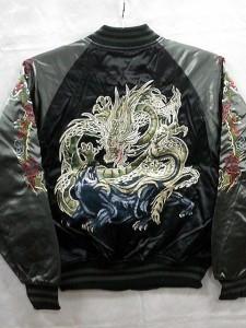 スカジャン 龍と黒豹刺繍