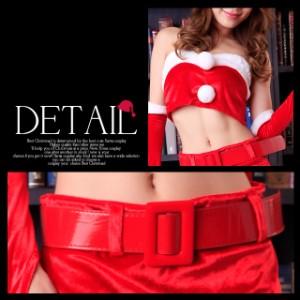 クリスマスへそ魅せサンタコスプレ5点SETパーティーコスチュームサンタクロースワンピースドレス赤黒帽子【入荷済】