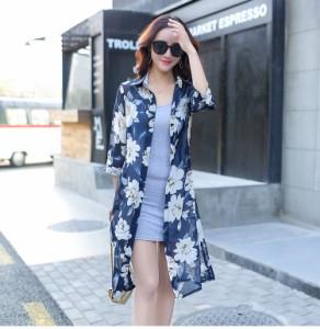 ミディアム 七分袖 襟付き シャツワンピース 花柄 ワンピース 春夏 yqyz4920