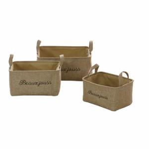刺繍ソフトバスケット 収納ケース 3個セット 雑貨 カラーボックス収納 かご 送料無料 小物入れ