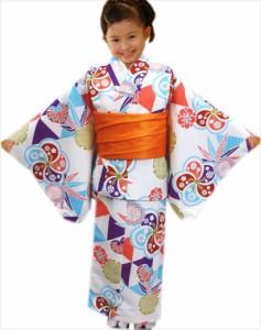 子供用キッズジュニア女の子洗える着物5点セット白色地梅ウロコ雪輪 5〜6歳・7〜8歳・9〜10歳