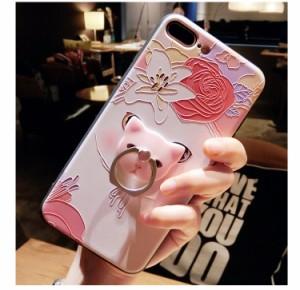 iPhone7/iPhone7 Plus/iPhone6s/iPhone6 Plusケースかわいい猫柄レリーフ柄 シリコン 耐衝撃リング付ストラップ付スマホケースZS284