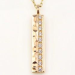 メンズネックレス 18金 ダイヤモンド 10石 0.10ct ペンダン K18WG K18PG K18YG 鎚目 地金 文字入れ 可能 送料無料