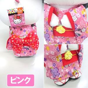 ちりめんハローキティ「ぬいぐるみL」 (サンリオ,はろうきてぃ,日本人形,27cm,ビッグリボン,和装人形,日本土産,ギフト)