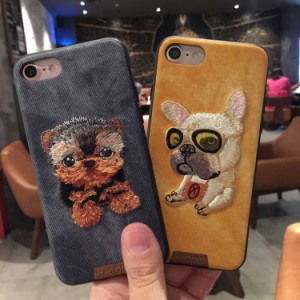 猫,犬刺繍風 立体ソフトケース iphone7 / 7 plus iPhone6/6s Plus  iphone6/6s携帯カバー ス マホケース  アイフォン7 ジャケット
