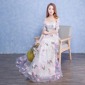 新作 上品 オフショルダー 可愛い フェミニン パーティードレス五分袖 ロングドレスエレガント 結婚式 演奏会 披露宴 編み上げ 着痩せ