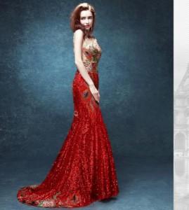 超人気 品質良いパーティードレスエレガント トレーンウェディングドレススパンコール結婚式披露宴古典刺繍中国風編み上げ