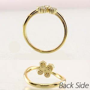 フラワー 花 ミステリー ダイヤモンド リング 指輪 ダイヤリング 18金 K18 イエローゴールド K18YG【送料無料】
