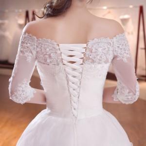 人気/Aライン フォーマル ブライズメイドドレス/パーティー結婚式二次会卒業式 ウエディングドレス 編み上げ トレーン 1M